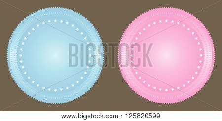Vector blank seals set in blue and pink.