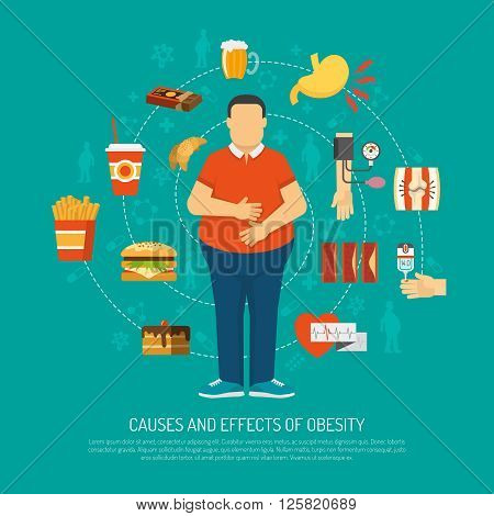 Color illustration causes and effects of obesity vector illustration