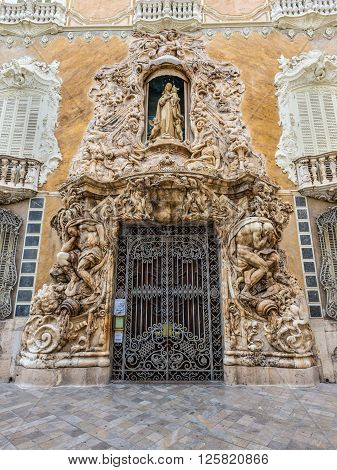 Valencia Spain - May 18 2014: Entrance to the National Ceramics Museum Gonzalez Marti Valencia Spain (The historic Palace of Marques de Dos Aguas).