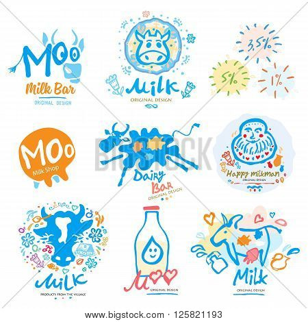 Milk logo. Icon for Milk products, agriculture,  shopping, dairy bar. Milk logo handmade,  symbols and signs.