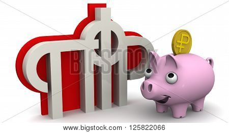 Favorable savings in the pension fund of the Russian Federation. The symbol of the Russian Federation Pension Fund and contented pig piggy bank with coin on white background. Isolated. 3D Illustration