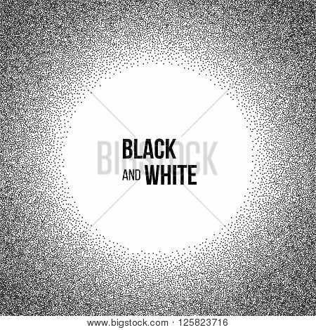 Abstract background for business presentations circle shape. Black and white dots round template with empty space for your text. Vector.