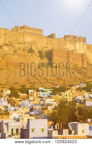 Landscape of Mehrangarh Fort India Concept
