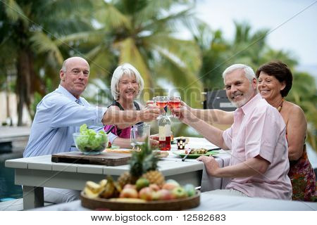 Senior group having a toast during a dinner on a terrace
