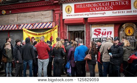 LIVERPOOL UK: April 15th 2016: Anfield marks the anniversary of the Hillsborough disaster for the final time