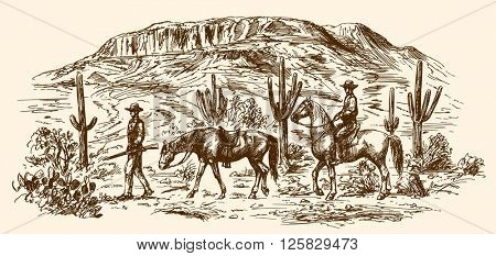 American wild west desert with cowboys. Hand drawn illustration