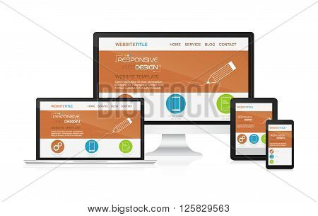 Responsive design and web devices. Concept for presentation your responsive design. Vector illustration.