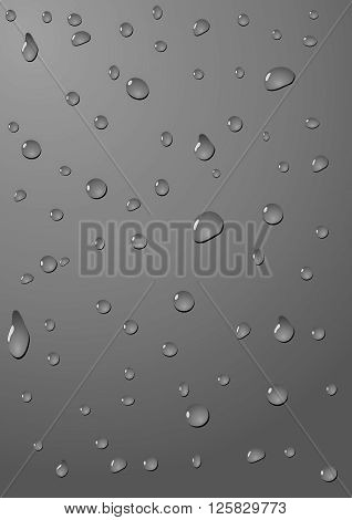 Drops of water on a dark grey anthracite background