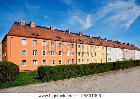 big block of flats in the sommer