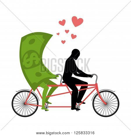 Money For Bike. Lovers Of Cycling. Man Rolls Dollar On Tandem. Joint Walk With Cash. Romantic Date C