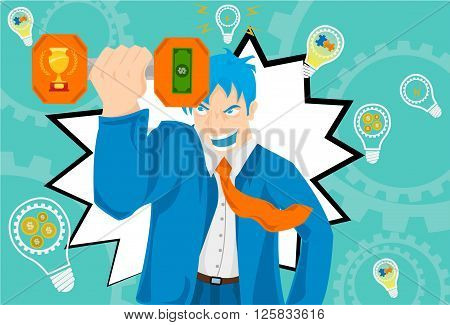 It's a man with blue suit and with orange tie, hold it a dumbbell  on the hand rising infront of him with two design symbolazing the goals, a trophy and tikect of money, diferent lightbulb in the background with diferent design in it.