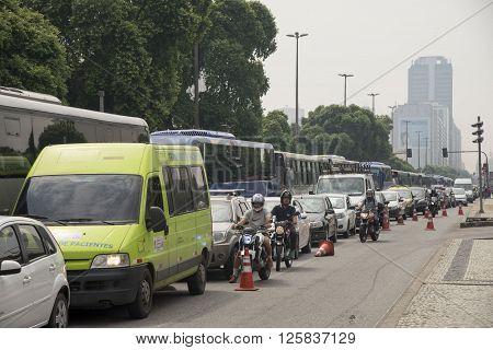 Rio de Janeiro Brasil - April 01 2016: Taxi drivers in Rio de Janeiro protesting against the UBER application closing the streets