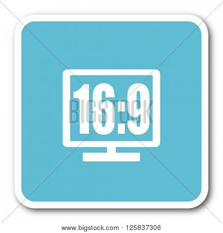 16 9 display blue square internet flat design icon