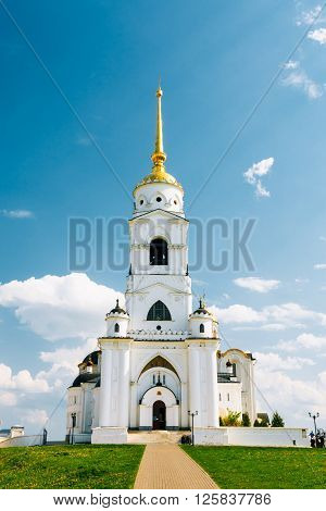 The bell tower of the Dormition Cathedral in Vladimir, Russia. Dormition Cathedral in Vladimir - Assumption Cathedral used to be a mother church of medieval Russia in the 13th and 14th centuries.