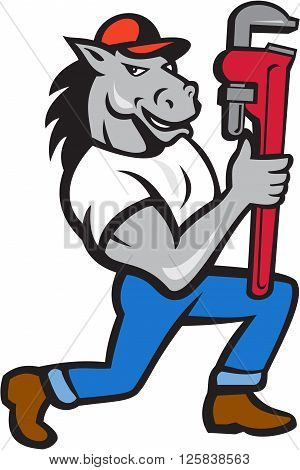 Illustration of a horse plumber kneeling holding monkey wrench set on isolated white background done in cartoon style.