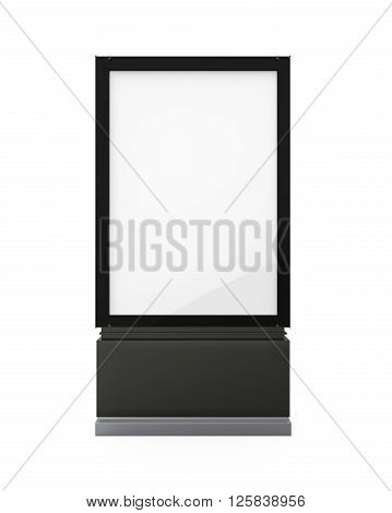 Blank Street Billboard isolated on white background. 3D render