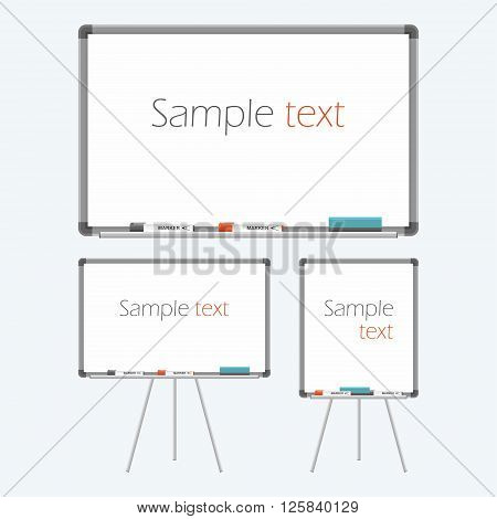 Empty whiteboard for business presentations or teaching. Vector illustration