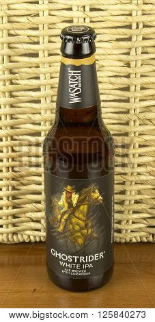 RIVER FALLS,WISCONSIN-APRIL 14,2016: A bottle of Ghostrider ale. This ale is made by Wasatch Brewery of Salt Lake City,Utah