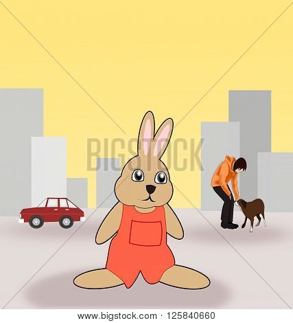 A rabbit, dressed in red, standing and consider the environment, in a city. In the background there is a car, and a woman with a dog.