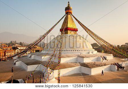 Buddhist temple in sunrise in Kathmandu, Boudhanath
