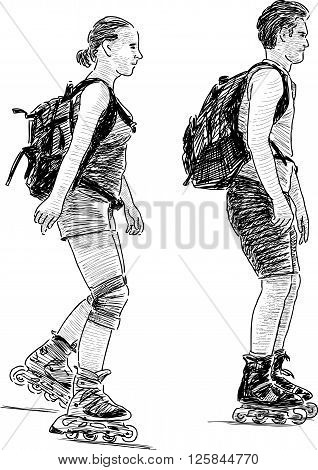 Vector drawing of the young people rollerblading.