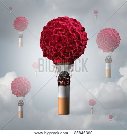 Smoking cancer health care concept as a human cancer cell shaped as an air balloon with a lit smoking tobacco cigarette butt creating smoke and heat for the cancerous symbol to rise as a 3D illustration.