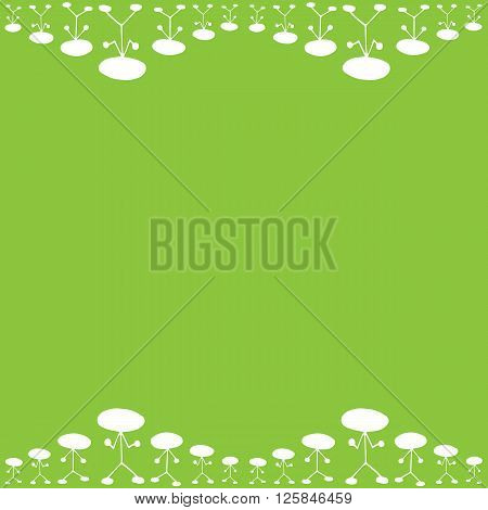 Frame pattern of white manikin figure little man on green background