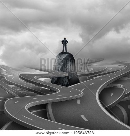 Lost business concept as a businessman standing on a rock with a group of twisted 3d illustration roads and pathways as a metaphor for corporate or personal adversity.