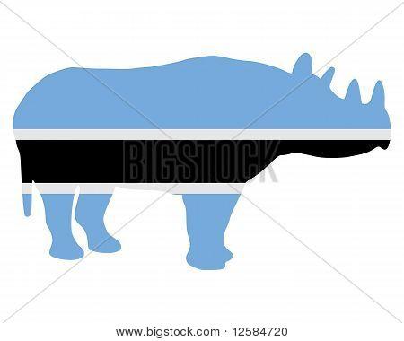 Detailed and colorful illustration of botswana black rhino poster