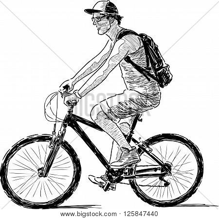 Sketch of a young cyclist in a travel.