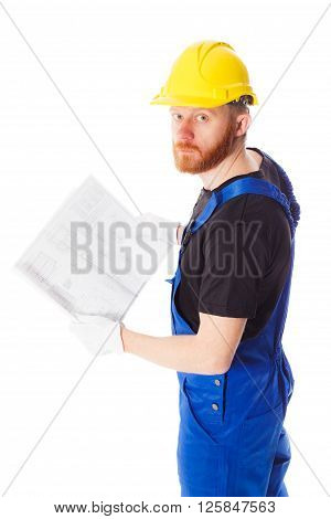Man builder in the helmet and uniform isolated