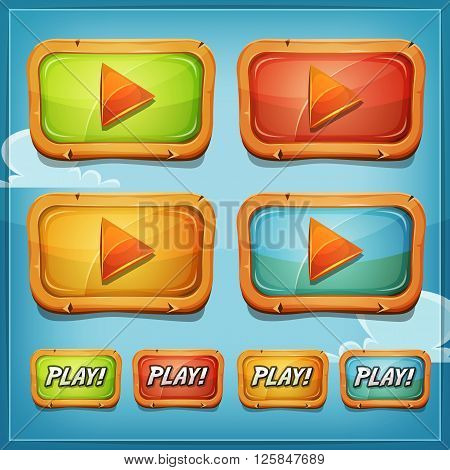 Illustration of a set of cartoon play buttons and icons elements or video player for game ui on mobile apps and tablet pc