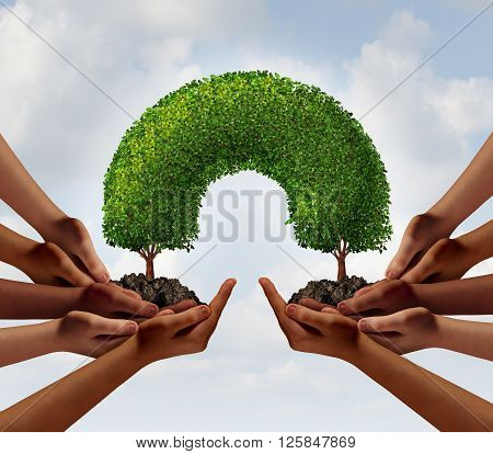Group success business concept as two groups of diverse people making a connection with 3D illustration trees that link together as a metaphor for global cooperation or environment teamwork.