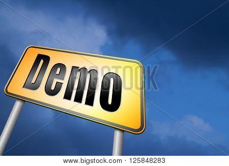 Demo for free trial download demonstration, billboard.