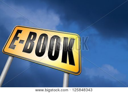 Ebook downloading and read online electronic book or e-book download, road sign billboard.