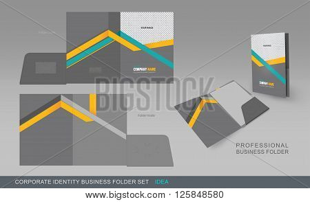 Corporate Identity Business Folder. Folder Design Template With Dicut Cutline