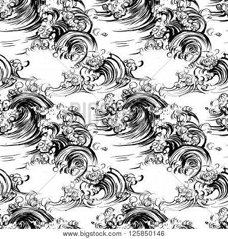 Seamless pattern waves brush ink sketch handdrawn serigraphy print stamp