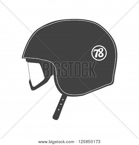 Motorcycle helmet close-up isolated. monochrome vector illustration.