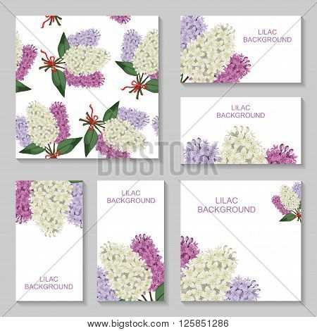 Vector illustrations of Lilac flowers bouquets background set. Lilac bouquets pattern seamless. Lilac bouquets business card