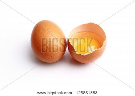 Fresh Broken egg isolated on white background