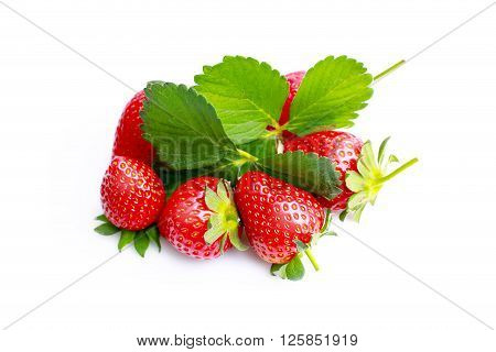 With leaf Strawberries isolated on white background