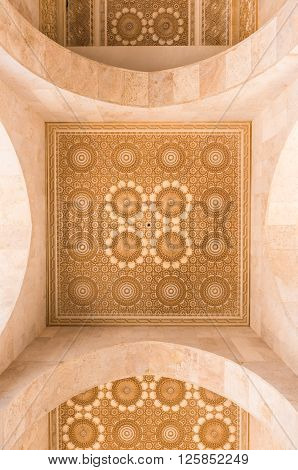 Casablanca, Morocco - March 21, 2014: The roof of corridor in Grand Mosque of Hassan II on March 21, 2014 in Casablanca Morocco