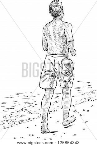 Vector sketch of a man on the morning run.