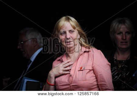 LIVERPOOL: United Kingdom: Sept 12th 2012 - Hillsborough campaigner Margaret Aspinall leaves Liverpool Cathedral after the second inquest results into the disaster was released relinquishing all blame away from the fans.