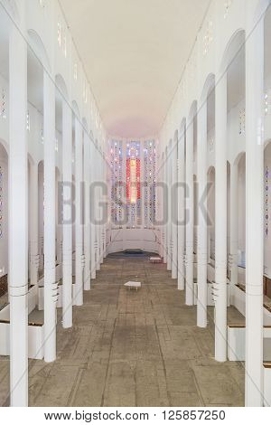 Casablanca, Morocco - March 21, 2014: The inside of casablanca cathedral with nobody on March 21, 2014 in Casablanca Morocco