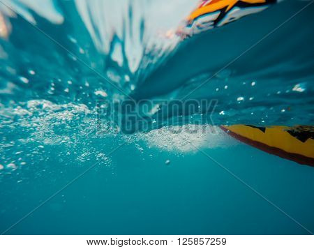 Underwater View Of A Moving Inflatable Ring That Floating In The Water