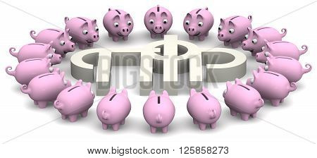 Favorable savings in the pension fund of the Russian Federation. Pig piggy banks surrounded the symbol of the pension fund of the Russian Federation. Isolated. 3D Illustration