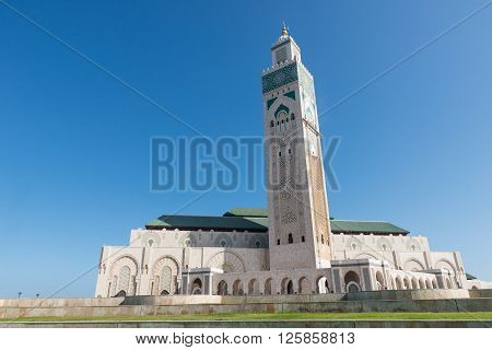 The Grand Mosque Of Hassan Ii With Blue Sky