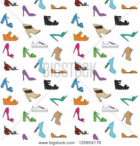 Women's shoes pattern. Types of women shoes hand drawn style background