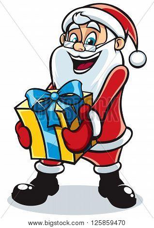 Happy Santa Claus bringing you a gift.